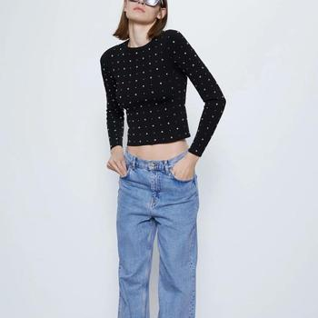 ZA new women STUDDED SWEATER knitted Round neck sweater long sleeves metallic stud appliqués
