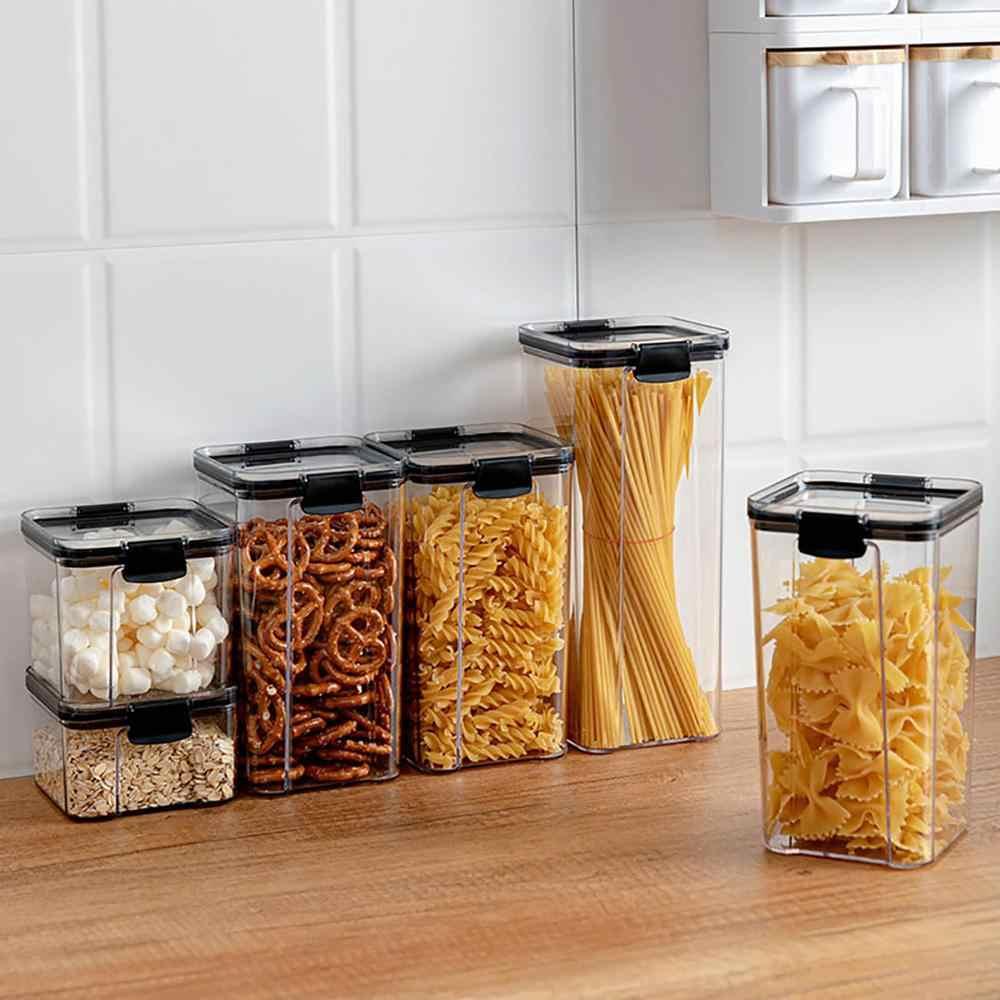 700/1300/1800ML Đựng Thức Ăn Giữ Bếp Bằng Nhựa Tủ Lạnh Mì Hộp Multigrain Bình Trữ Trong Suốt Phong Ấn Lon