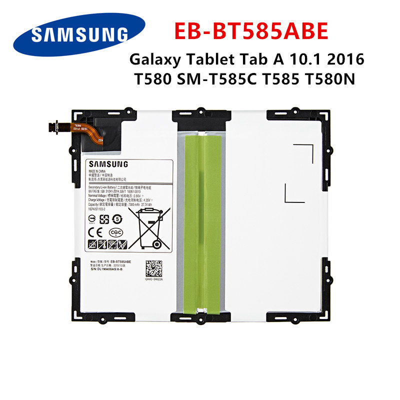 SAMSUNG Orginal Tablet EB-BT585ABE 7300mAh Battery For Samsung Galaxy Tablet Tab A 10.1 2016 T580 SM-T585C T585 T580N  Batteries