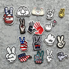 High quality Nail Hand Sequins Patches Iron On Or Sew Fabric Sticker For Clothes Badge Embroidered Appliques DIY Accessories(China)