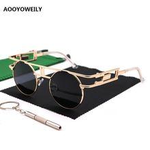 Круглые Солнцезащитные очки в стиле стимпанк женские металлические