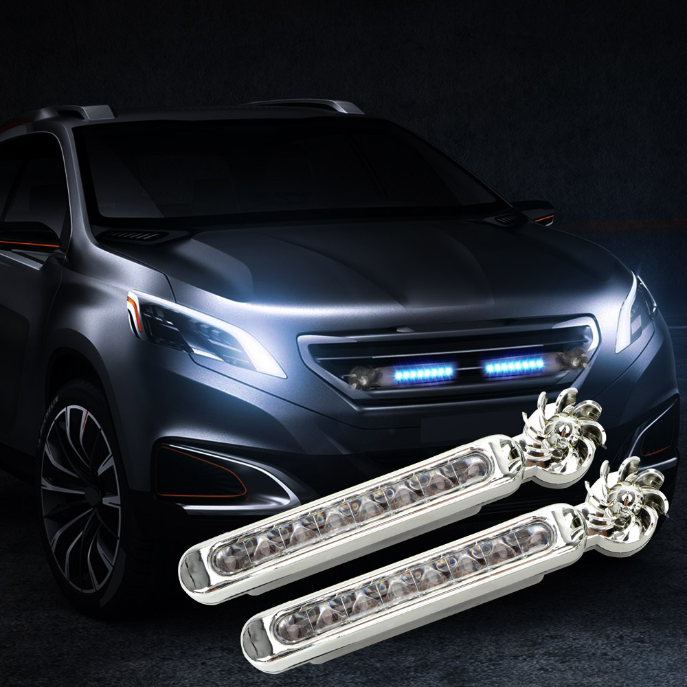 Wind Powered Car Lights Daytime Running Vehicle Lights With Rotation Fan Car Lamp No Need External Power Supply Car Lights
