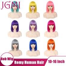 JGMI ludzki włos prosto BOB peruka Bangs dla kobiet pomarańczowy zielony pomarańczowy niebieski szary szary róża czerwony żółty różowy lawenda fioletowy kolorowy