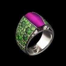 Anillo de piedra violeta grande Modyle para mujer, regalo de boda, joyería de lujo, anillo de Zirconia cúbica verde Color plata