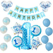 Blue Pink Boy or Girl Balloons Set 1st Birthday helium Balloon Gender Reveal Decor Birthday Party Decorations Kids Baby Showers baby shower balloons blue pink boy girl foil ballons kids gender reveal first 1st birthday party kids party decorations supplies