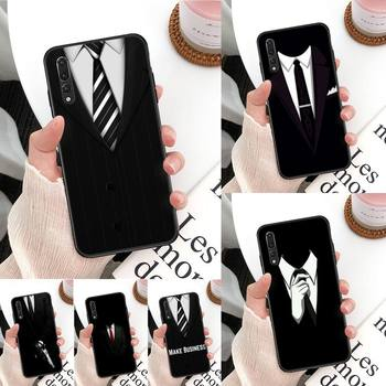 Cool black Man suit White Shirt Tie Phone Case For Huawei Mate 30 Pro P20 P30 P40 pro lite Y7 Y6 for Honor 8X 8A 10 20lite 10i image