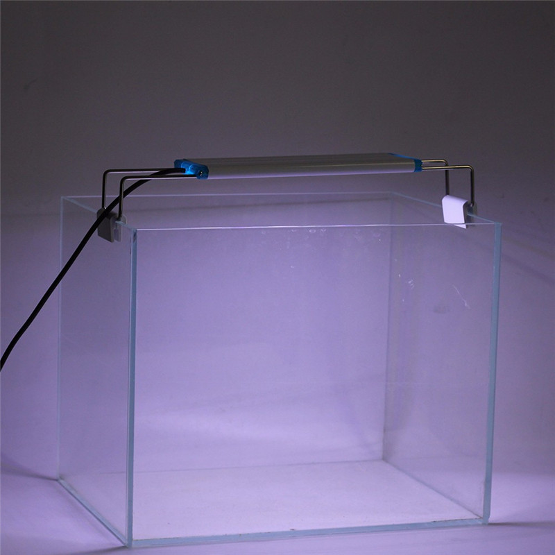 220V 18 58cm Fish Tank LED Lighting Aquatic Plant Growing Light Super Slim Aquarium Extensible Waterproof Clip on Lamp Light in Lightings from Home Garden