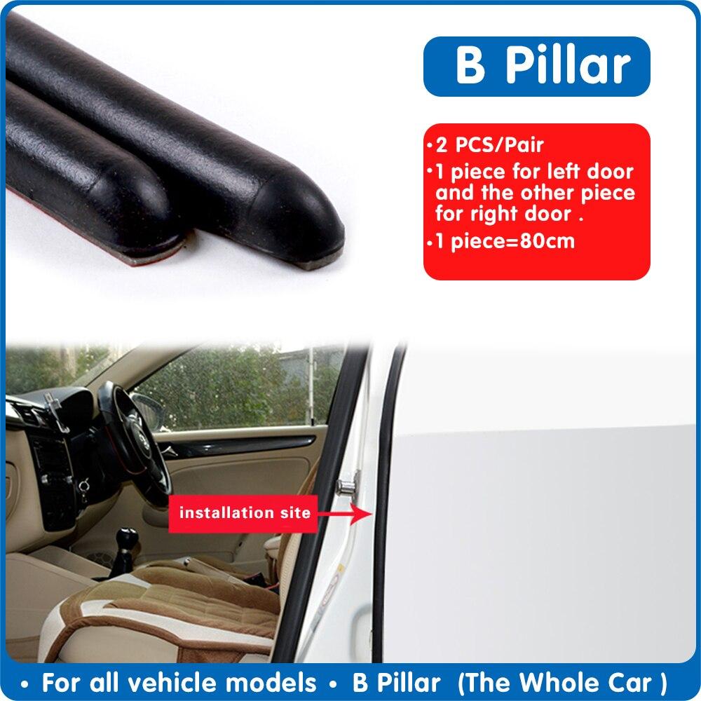 2PCS Car Door Rubber Strip For Door B Pillar Protection Strips Automobile Door Trunk Weatherstrip Stickers Sealant For Auto Door
