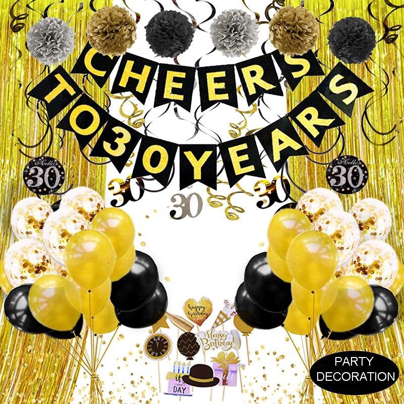 Or noir décoration danniversaire anniversaire fête décoration adulte acclamations à 30 40 50 60 70 80 90 ans fournitures de fête