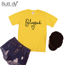 Love Letter Blessed Logo O-neck T Shirt Women Solid Short Sleeve Cotton Tshirt 2019 Top Selling Product Tops & Tees