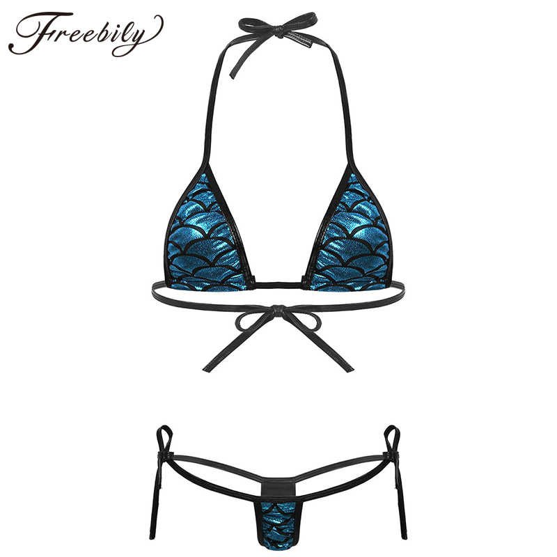 Womens Glanzend Metallic Mermaid Fish Scale Gedrukt Bikini Lingerie Set Halter Hals Self-Tie Bh Top Met G-string Slips ondergoed