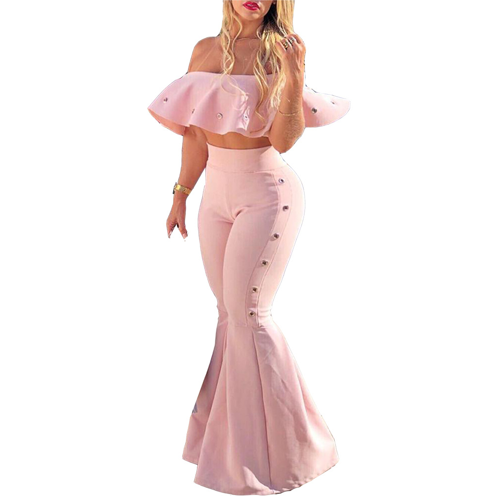 Adogirl Solid Pink Two Piece Set Ruffle Off Shoulder Crop Top Flare Pants Casual Suits
