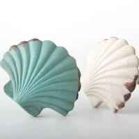 Clássico vintage lidar com concha mediterrâneo em forma de único furo alça e puxador estilo mediterrâneo mobiliário maçaneta da porta e botão