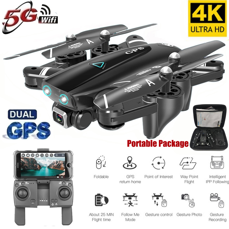 S167 5G Drone GPS RC Quadcopter With 4K Camera WIFI FPV Foldable Off-Point Flying Gesture Photos Video Helicopter Toy