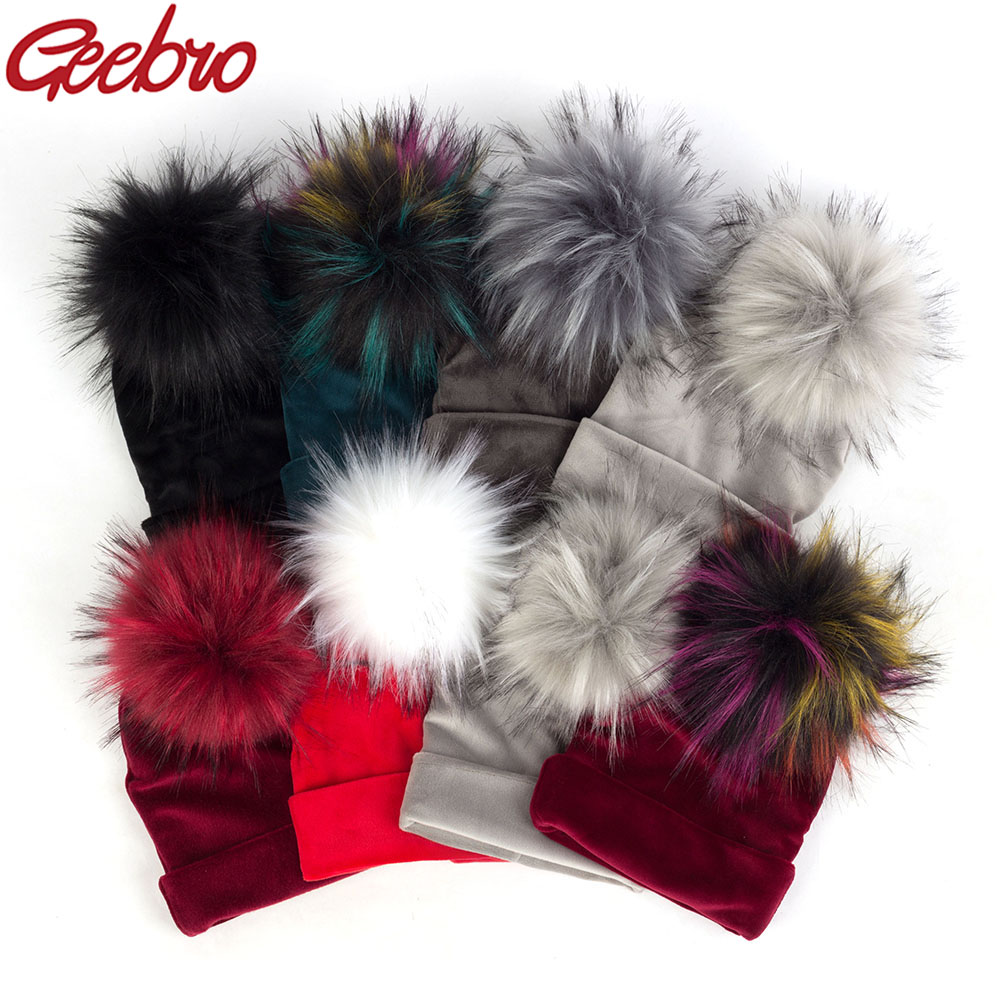 Geebro Newborn Baby Hat Faux Raccoon Fur Pompom Girls Boys Warm Winter Knitted Velvet Hat Ins Fashion Soft Thick Flannel Beanies
