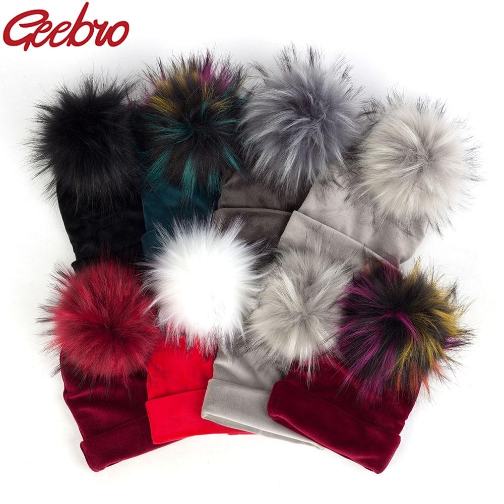 Geebro Newborn Baby Hat Faux Raccoon Fur Pompom Girls Boys Warm Winter Knitted Velvet Hat Ins Fashion Soft Thick Flannel   Beanies