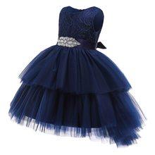 Слои Темно-синие; Летнее платье для девочек; Детское платье на лето красного цвета праздничная одежда Vestido 3 4 5 6 7 8 9 10 11 для детей 12 лет старый ...