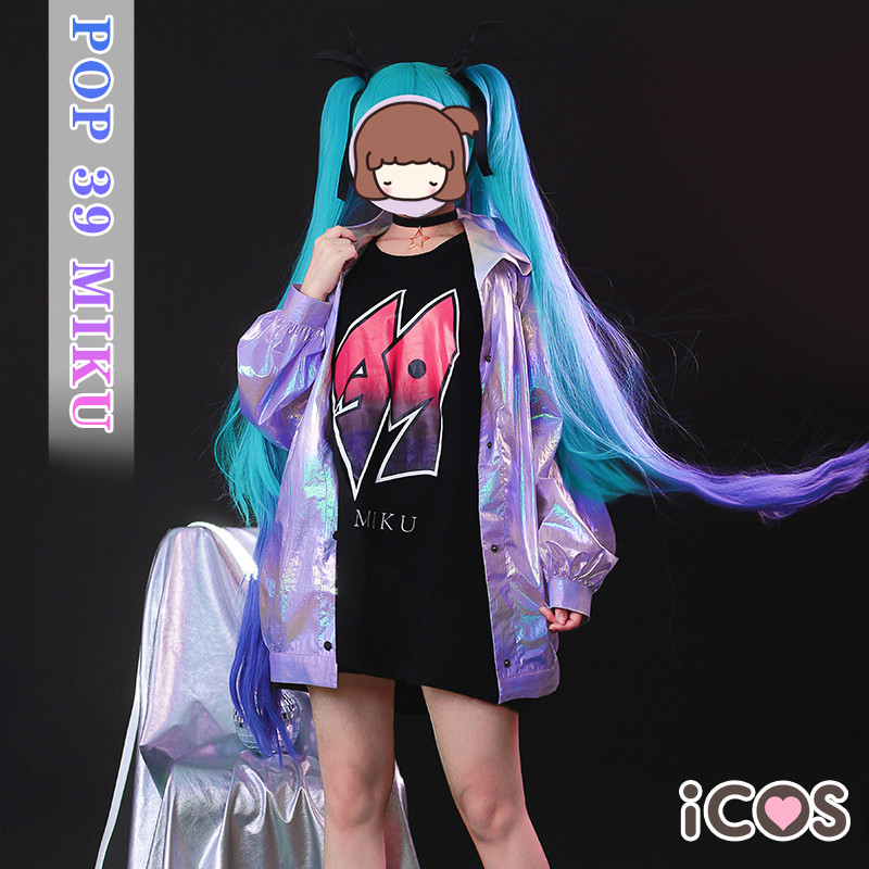 Anime VOCALOID Hatsune Miku Cosplay Costume POP 39 Miku Cos Lolita Cyberpunk Suit Laser Coat H(China)