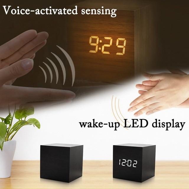 Digital Thermometer Alarm Clock Wooden LED Backlight Voice Control Retro Glow Watch Desktop Table Luminous Clock Home Decoration 2