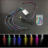 Işıklar ve Aydınlatma'ten Optik Fiber Işıklar'de Usb5v 12v 2w çok renkli led ışık kaynağı motoru IR uzaktan kumanda ile 4 led ampul kafa USB