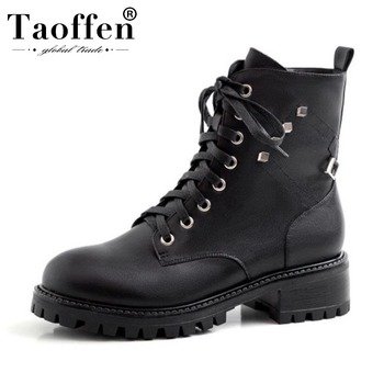 Taoffen Women Genuine Leather Riding Boots Platform Flats Winter Boots Zipper Casual Sexy Shoes Woman Footwear Size 34-40