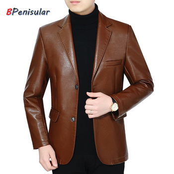 2019 Autumn Winter Men's Leather Jacket Casual PU Blazer Jacket Male Single Breasted Slim Fit Mens Leather Jackets Coats Gothic