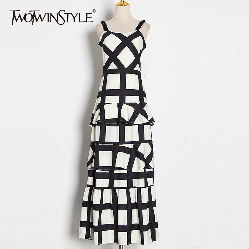TWOTWINSTYLE Patchwork Ruffle Lace Plaid Women's Dresses Square Collar Spaghetti Strap High Waist Hit Color Dress Female Fashion