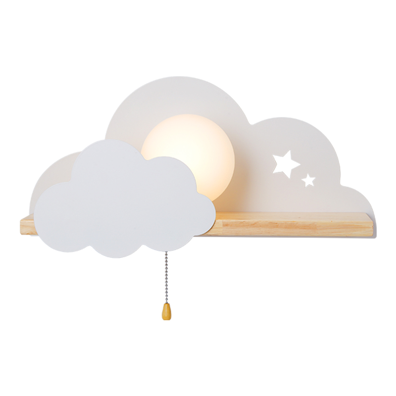 Image 5 - BOTIMI Children LED Wall Lamp For Bedroom Glass Lampshade Cloud Metal Cartoon Boys Bedside Lighting Kids Room Girls Wall Sconce-in LED Indoor Wall Lamps from Lights & Lighting