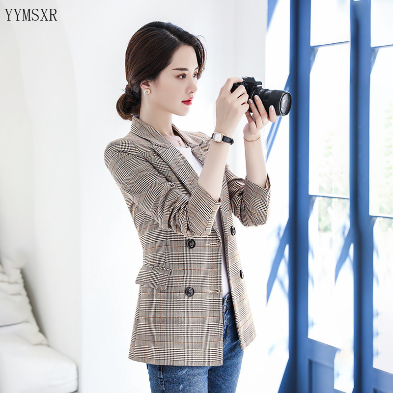 Professional blazer Women's Slim High-Quality Double-Breasted Jacket Feminine Female Checked small suit 2020 new