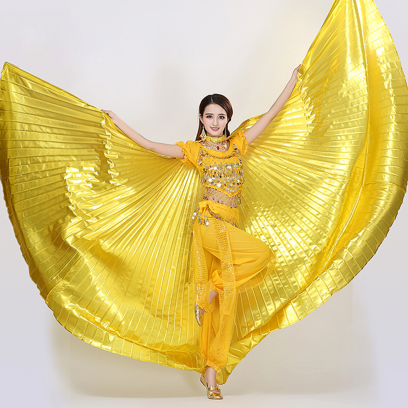 360degree Indian Belly Dancing Wings Solid Color Women Non Split Gypsy Girl Flamenco Dance Accessories Bellydance Performance