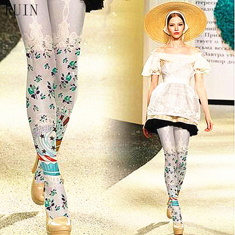 RUIN tighst calças justas das mulheres Elegante Lace Ribbon Cake Print Meia-calça calças femininas do menina