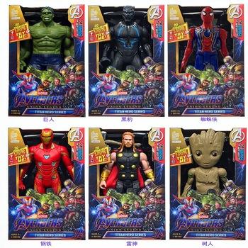 Avengers Marvel 30CM dźwięk i światło figurka Spiderman czarna pantera Iron Man Hulk kapitan ameryka Thor Thanos chłopiec prezent tanie i dobre opinie Disney Model 7-12y 12 + y CN (pochodzenie) Unisex Wyroby gotowe Film i telewizja Gotowy żołnierzyk Zachodnia animacja