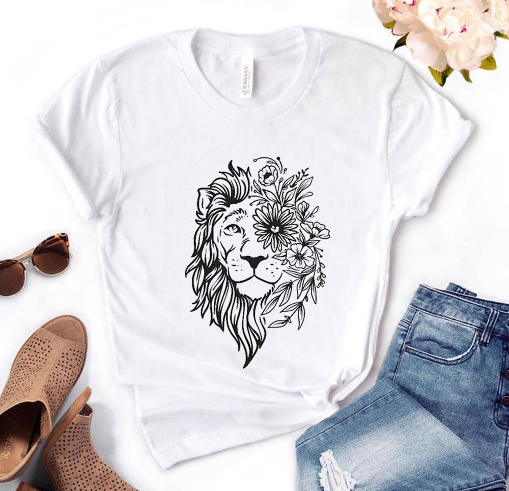 Lion Face Floral Print Women Tshirt Cotton Casual Funny T Shirt Gift For Lady Yong Girl Top Tee PM-138