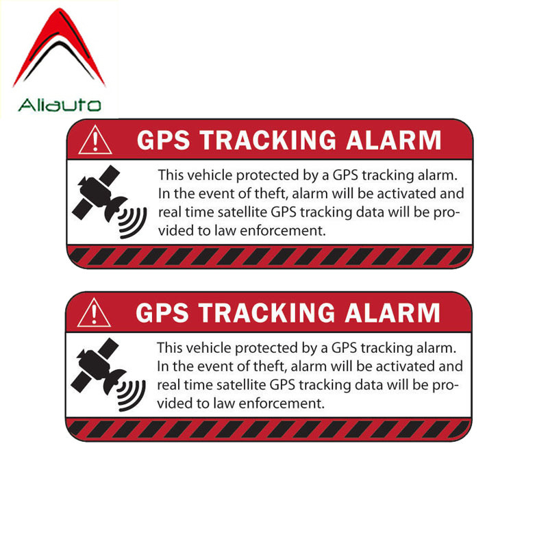 Aliauto 2 <font><b>X</b></font> Caution Car <font><b>Sticker</b></font> Reflective Warning Gps Tracking Alarm Waterproof Decal Automobile <font><b>Motorcycle</b></font> Parts,13cm*4cm image