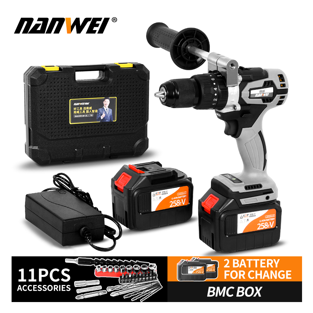 Double Speed Cordless Rechargeable Electric Drill Lithium Battery Powered Electric Hand Drill With 2pcs Battery