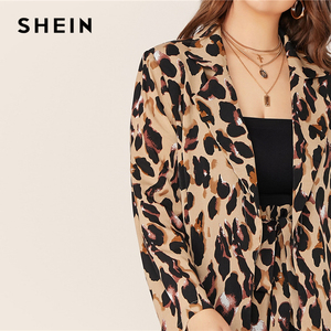 Image 5 - SHEIN Plus Size Leopard Print Notch Collar Blazer and Belted Shorts 2 Piece Set Women Autumn Casual Glamorous Two Piece Set