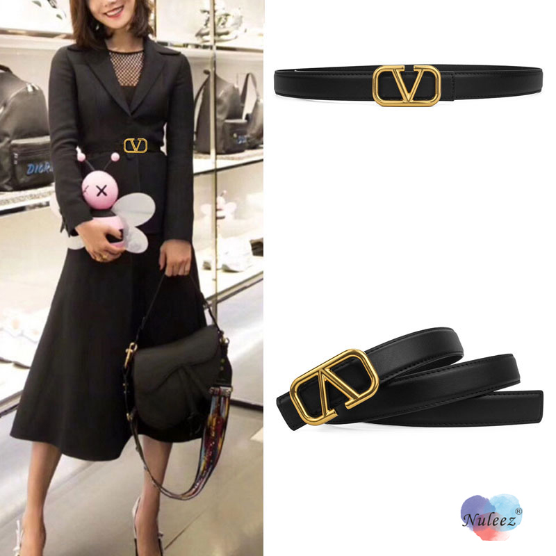 Nulee Belt Women V Letter Brass Hardware Cowhide High Quality Waist Decoration Fashion