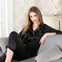 Large Size 5XL Women Silk Pajama Sets Satin Sleepwear Long Sleeve Pijama Fashion Pajamas for girl Nightwear Suit Home