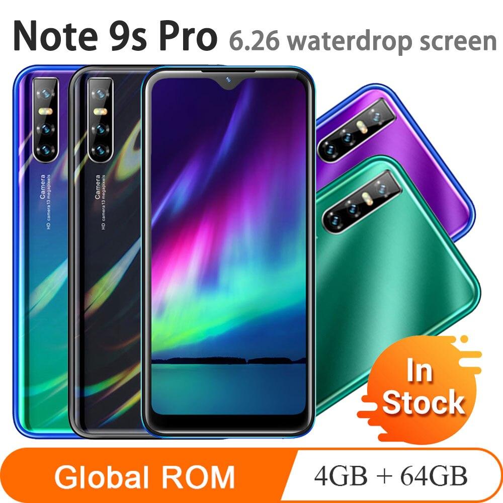 Смартфон Note9s pro, 4 + 64 ГБ, MTK6580, 4 ядра, 6,26 дюйма