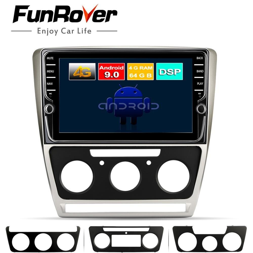 Funrover 2 8 núcleo android 9.0 din multimídia carro dvd Para Skoda Octavia 2008-2013 UM 5 A5 Yeti fabia gps de navegação tela Dividida