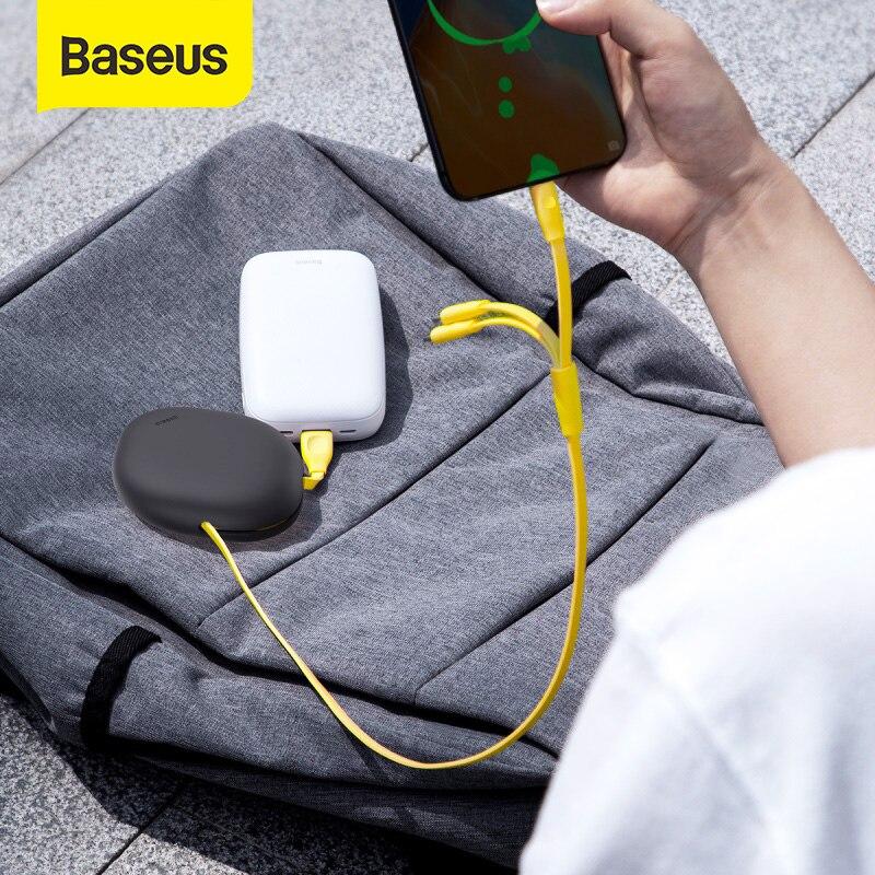 Cable USB C retráctil Baseus 2A Cable USB tipo C para Samsung S30 Cable de silicona portátil de carga rápida tipo C para Huawei P30 Cable magnético CANDYEIC para Samsung Galaxy M31 30S M40 M20 cargador magnético para iPhone 12 11 Max Pro 9 8 Cable de carga magnético