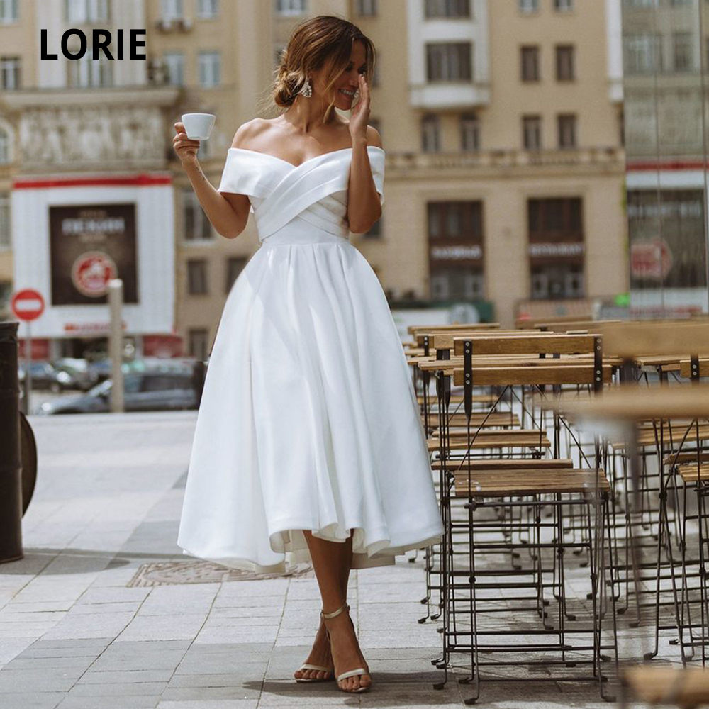 LORIE Simple Tea-length Wedding Dress Off The Shoulder White /Ivory Satin A-line Short Bride Gowns Beach Back Laing Wedding Gown