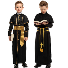 Halloween Medieval missionary Cosplay Costumes for Father children Priest Nun Missionary Costume Sets Boys Cosplay Kids Dress