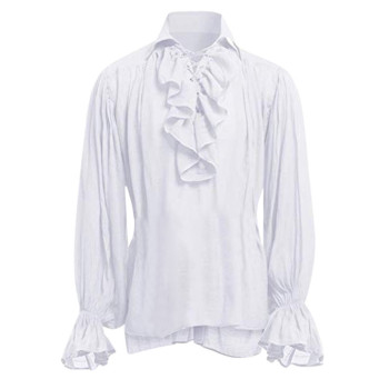 2020 Men's Shirts High Quality Fashion Men Bandage Long Sleeve Shirt Gothic Man Blouse Tops Autumn Casual Mens Shirt new style 1