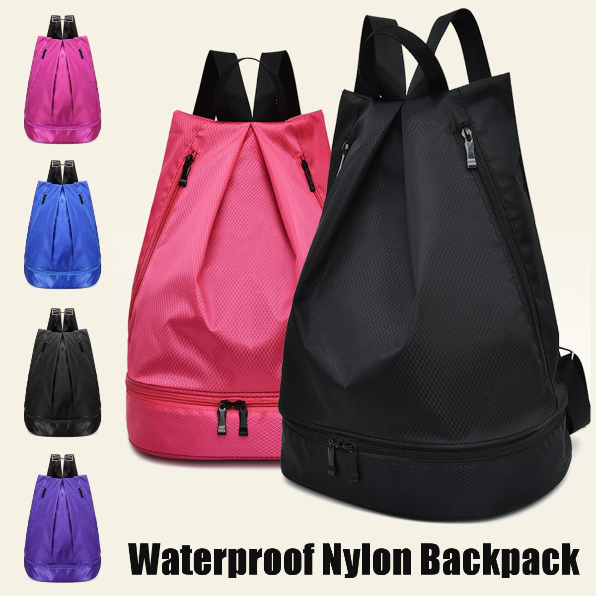 Nylon Shoulder Backpack Waterproof Travel Gym Sport Bags Yoga School Storage Carry Bag  Outdoor Training Travel Hiking Bag