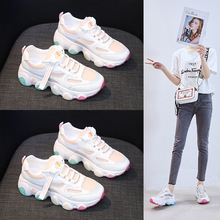 little white shoes 2020 new women s shoes korean version of the trend of wild breathable sports casual shoes spring and autumn Dad Shoes Comfortable and Breathable 2020 Summer New Korean Version of The Mesh White Shoes Sports Casual Women's Shoes