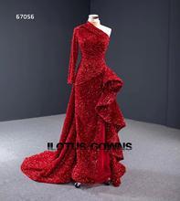 فستان رسمي بكتف واحد مزين باللون الأحمر اللامع ، فستان سهرة طويل مخصص للحفلات