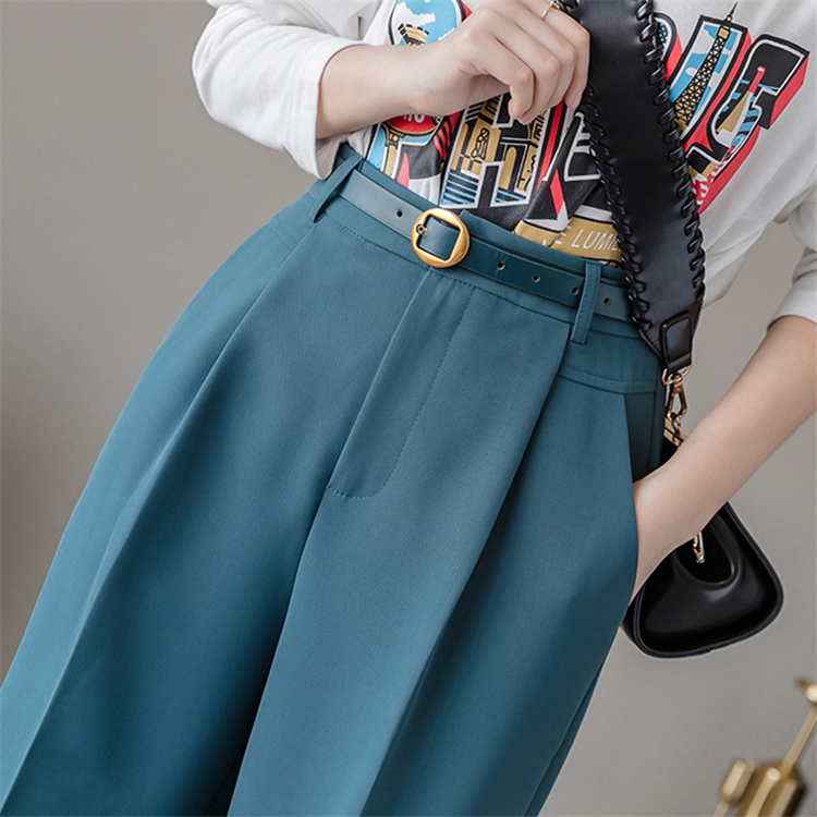 Hf4e0df457bac4a88ac469101aafcc30e4 - Colorfaith New Spring Winter Women Pants High Waist Loose Formal Elegant Office Lady Ankle-Length With Belt Pants P7223
