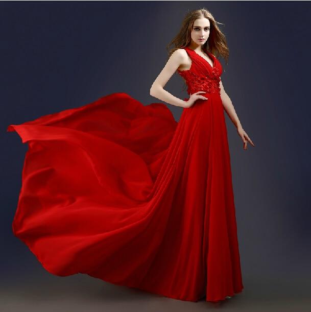 Party Flowers V-neck Vestido De Renda 2018 New Women Formal Red Chiffon Long Evening Gown Elegant Mother Of The Bride Dresses
