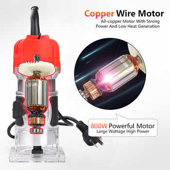 Woodworking Electric Trimmer Wood Milling Engraving Slotting Trimming Machine Carving Machine Router Wood Accessories EU USPlug